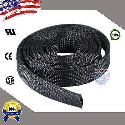 20 FT- 1 Black Expandable Wire Cable Sleeving Sheathing Braided Loom Tubing US