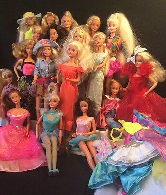 BARBIE DOLL LOT OF 18 ROCKER 80s DOLLS WITH EXTRA CLOTHES