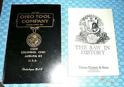 Lot 2 Vintage Tools Book - Ohio Tool Co- - The Saw in History - Reprints