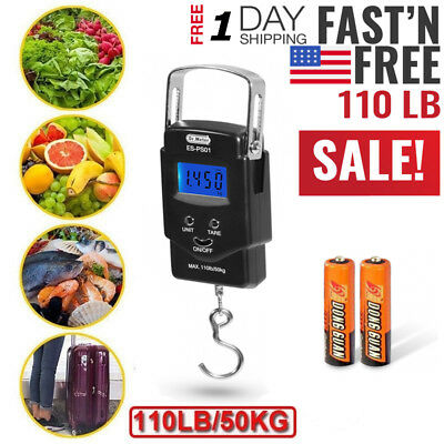 Digital Fishing Scale LCD Electronic Luggage Postal Weight Hanging Hook 110lb