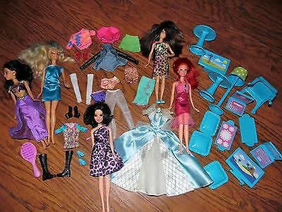 Lot of 5 Barbie dolls barbie clothes shoes and furniture-