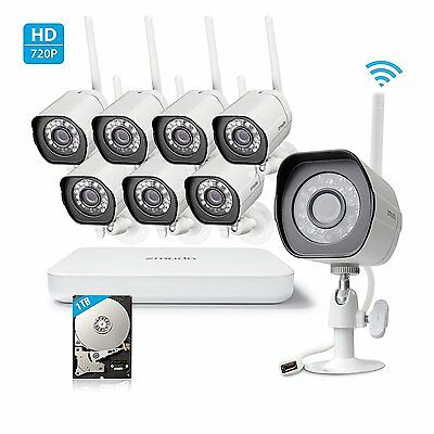 Zmodo 1080P 8CH NVR WiFi 1-0MP IndoorOutdoor Smart Security Camera System 1TB