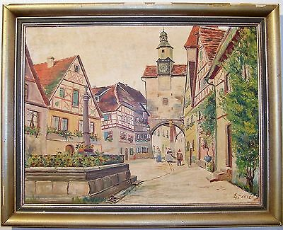 Antique Oil Painting On Canvas of The German Town Rothenburg- Signed E- Seitter