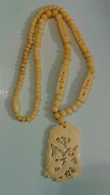 Antique Chinese Double Dragon Necklace Carved in Bone 2 Sided