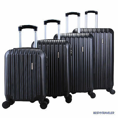 BN 4Pcs Luggage Black Travel  Bag ABS Trolley Spinner Carry On Suitcase TSA Lock
