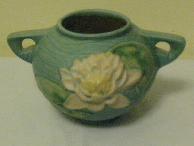 Roseville Art Pottery Blue-Green Water Lily Vase 437-4 AS IS