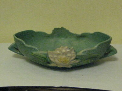 Roseville Art Pottery Blue-Green Water Lily CenterpieceConsole Bowl 441-10