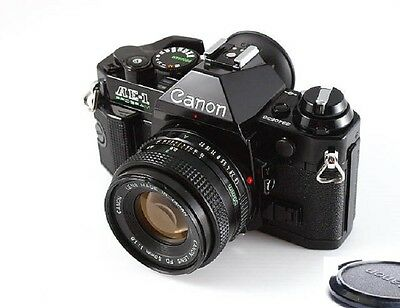 Canon AE-1 Program Camera Black Body with FD 50mm f1-8 Lens Excellent Condition