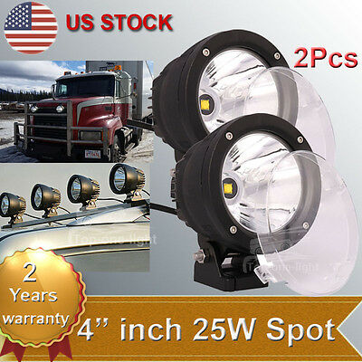 2pcs 25W 4 Round CREE LED Work Light Spot Driving Lamp Offroad Fog JEEP UTE SUV