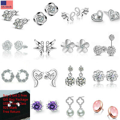 Women Fashion 925 Sterling Silver Crystal Rhinestone Elegant  Ear Stud Earrings