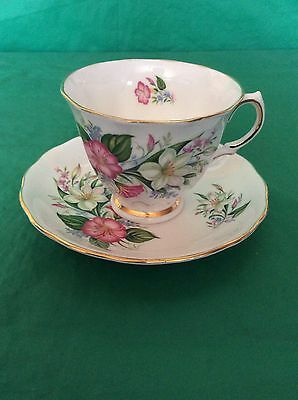 COLCLOUGH BONE CHINA  CUP - SAUCER 79901PINK WHITE BLUE  FLOWERS