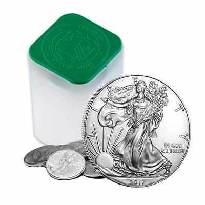 2017 1 oz Silver American Eagle 1 Coins Lot Roll Tube of 20