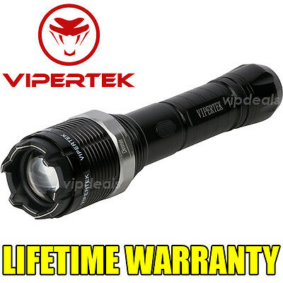 VIPERTEK VTS-T01 Metal 10 BV Stun Gun Rechargeable LED Flashlight - Taser Case