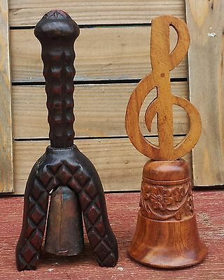 VINTAGE COLLECTIBLE WOODEN BELLS SET OF 2 DIFFERENT 1 ALL WOOD 1 METAL - WOOD