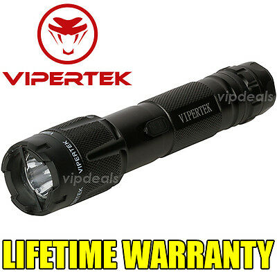 VIPERTEK VTS-T03 Metal Police 10 BV Stun Gun Rechargeable LED Flashlight Black