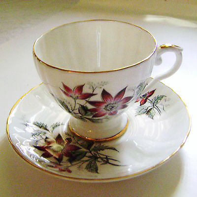 Royal Grafton Fine Bone China Cup - Saucer with VioletPurple Flowers