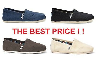 Authentic TOMS Womens CLASSIC Solid Canvas Slip-On Flats  Various Sizes