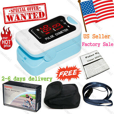 SpO2 PR Finger tip Pulse Oximeter Blood Oxygen Heart Rate Monitor Pouch- Lanyard
