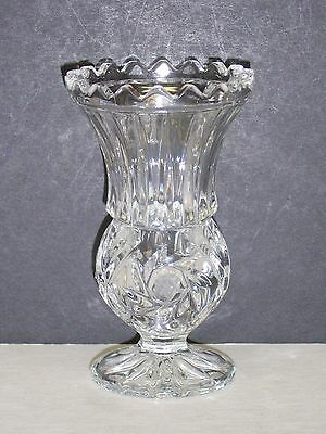 Vintage Pressed Clear Glass 4 14 Thistle Posey Vase Frosted Star of David