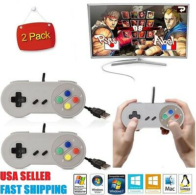 2 x USB Controller For PCMac SNES Super Nintendo Games Retro Classic Gamepad US