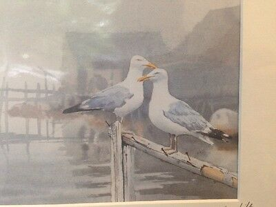 Neil Depew Watercolor Print Two Gulls -Signed and dated by artist