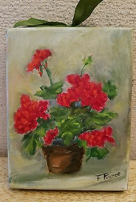 signed vintage painting wall hanging flowers flower pot art artist beautiful wow