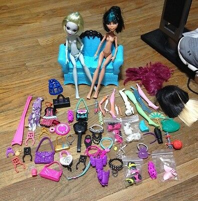 Huge Lot of Monster High Doll Accessories Clothes Purses Combs Stands Misc Items