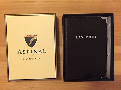 BLACK ASPINAL LEATHER PASSPORT COVER IN ORIGINAL PACKAGING BRAND NEW