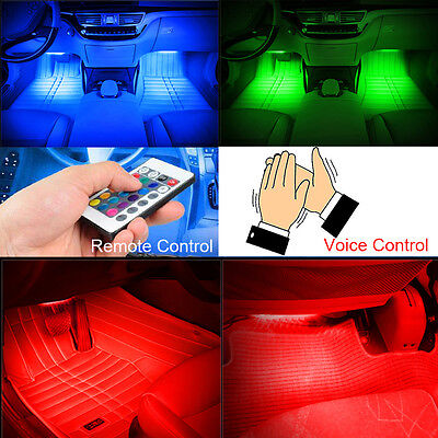 4x Colorful 9-LED Car Charge Interior Accessories Foot Car Decorative Car Light