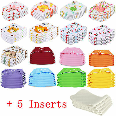 5 PCS-5 INSERTS Cloth Diapers lot Nappies Adjustable Reusable For Baby Newborn