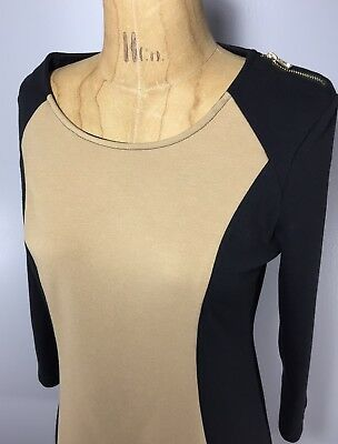 ANDREW MARC NEW YORK Black Tan Cocktail Dress Size Small S Womens Career Casual