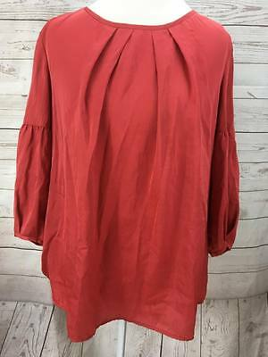 Talbots Blouse Top Shirt Womens Size 14W Red Pleated 34 Sleeve Lightweight