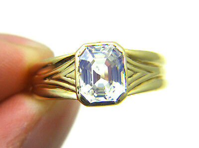 Estate Vintage 3ct Natural White Sapphire Emerald Cut 14k Yellow Gold Mens Ring
