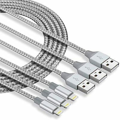 3 pack 10Ft Cable Heavy Duty For iPhone 12 11 X 8 7 Plus Charger Charging Cord