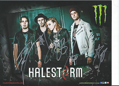 Halestorm Signed RP 8x10 Photo- All 4 Ships ASAP