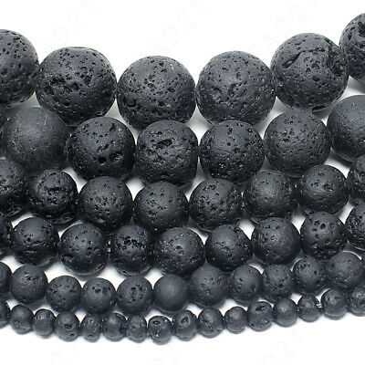 Natural Lava Stone Volcano Beads Round 4mm 6mm 8mm 10mm 12mm 14mm 15-5 Strand