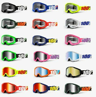 100 STRATA Goggles -ALL COLORS- Offroad MX MTB Motocross - CLEAR OR MIRROR LENS