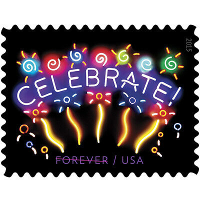 USPS New Neon Celebrate Forever Stamp sheet of 20