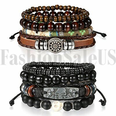 2 Sets8pcs Black Skull Leather Men Women Tribal Beaded Cuff Wristband Bracelet