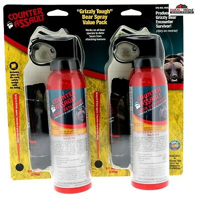 2 8-1oz- Counter Assault Bear Spray with Holster  New