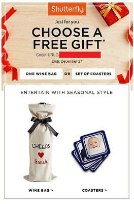 Shutterfly Free Wine Bag or Set of Coasters  Code 1227 starts with URLG