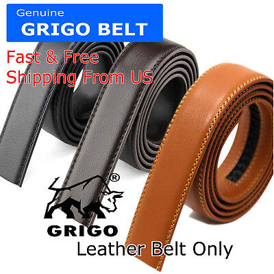 Fashion Mens Automatic Real Leather Ratchet Belt Strap Jeans Waistband Gift