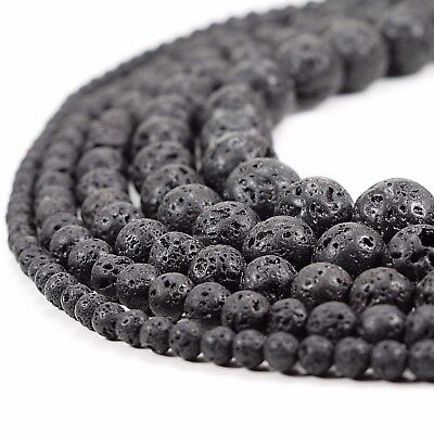 Natural Black Lava Beads Round Volcanic Rock Gemstone 15 4 6 8 10 12 14mm sizes