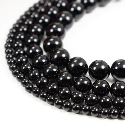 Natural Black Onyx Beads Round Smooth 15 Strand Loose 4mm 6mm 8mm 10mm 12mm