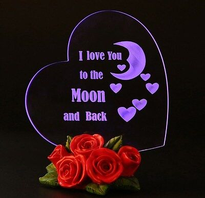 Mothers Day Gift Heart Shaped LED Light I Love You MOM 2 DAY SHIPPING