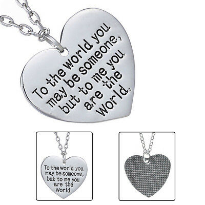 Mothers Day Birthday Gift Mom Wife You are The World Heart Necklace Great Gift