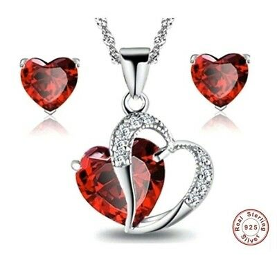 Mothers Day Gift Set 925 Sterling Silver Red Heart  Pendant Necklace Gift Box