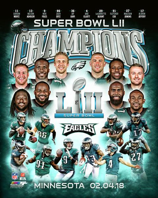 Super Bowl LII 52 Philadelphia Eagles 8x10 photo Champions Composite