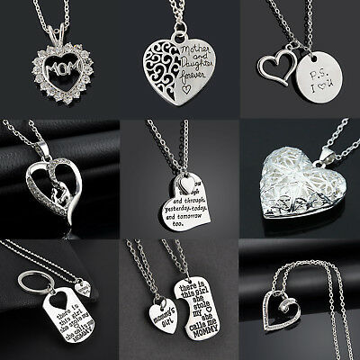 Cute Mom Mother - Daughter Best Friend Mothers Day Heart Pendant Necklace Charm