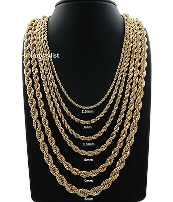 Hip Hop Rope Chain Necklace 20 22 24 26 30 inch 14K Gold Finish
